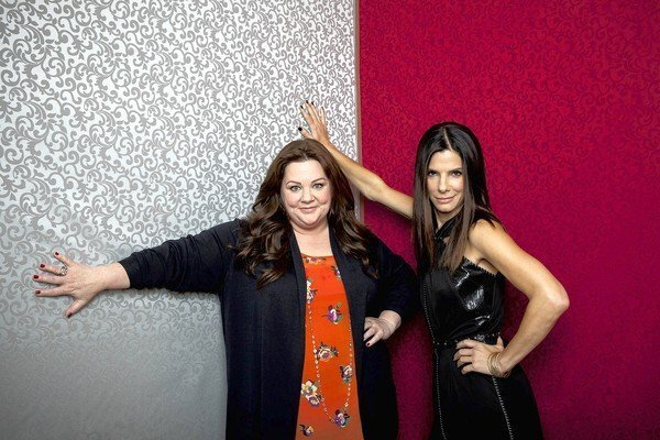 Melissa McCarthy, left, and Sandra Bullock at the Four Seasons hotel in Los Angeles.