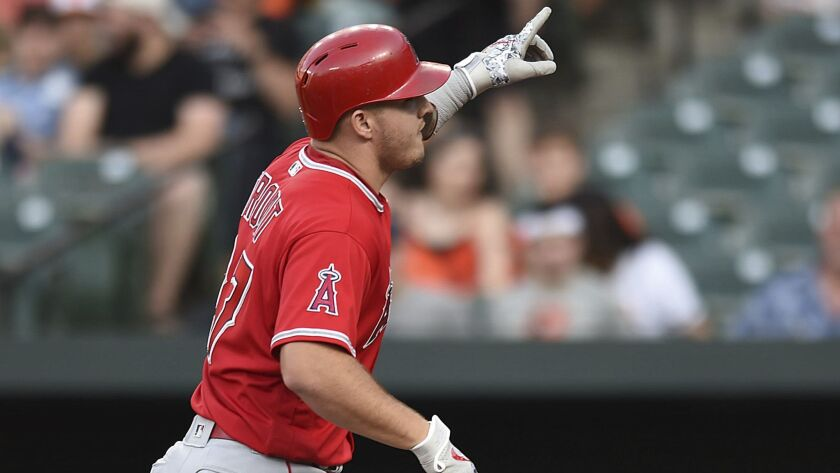 Los Angeles Angels' Mike Trout points skyward after hitting a solo home run against the Baltimore Or