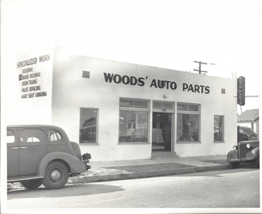 1940s photograph of the Woods Auto Parts Building