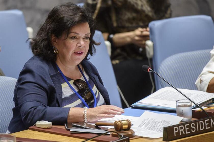 Fotografía cedida por la ONU donde aparece la presidenta de turno del Consejo de Seguridad, la británica Karen Pierce, mientras habla durante la reunión mensual del Consejo de Seguridad de Naciones Unidas sobre la crisis humanitaria que se vive en Siria celebrada hoy, martes 28 de agosto de 2018, en la sede del organismo en Nueva York (EE.UU.). EFE/Loey Felipe/ONU/SOLO USO EDITORIAL/NO VENTAS