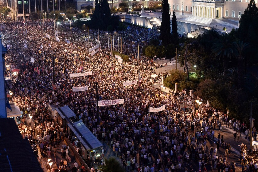 Demonstrators during a rally in Athens, Greece on June 29. Greek voters will decide in a referendum next Sunday whether their government should accept an economic reform package put forth by Greece's creditor.