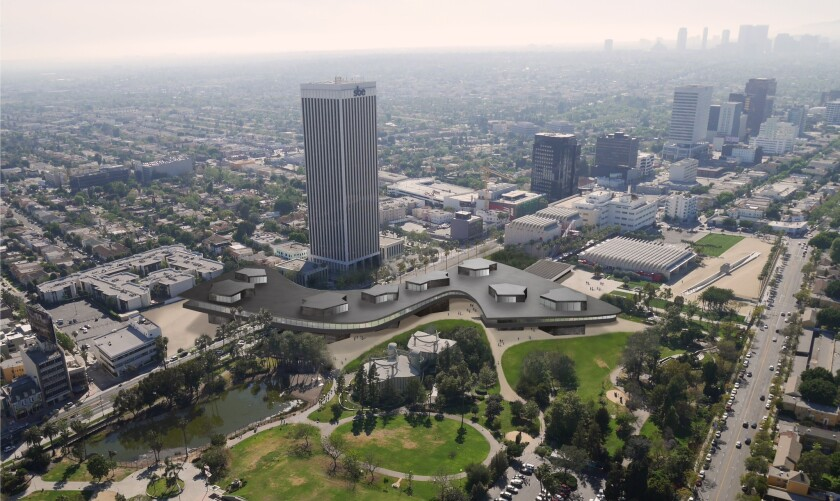Renderings of LACMA's new building over Wilshire Boulevard.