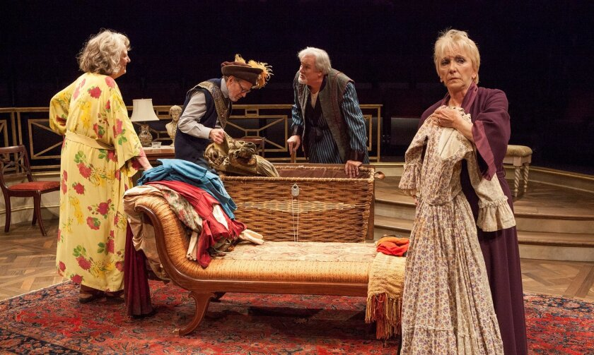 """Jill Tanner, Robert Foxworth, Roger Forbes and Elizabeth Franz (left to right) in the Old Globe Theatre's """"Quartet."""""""