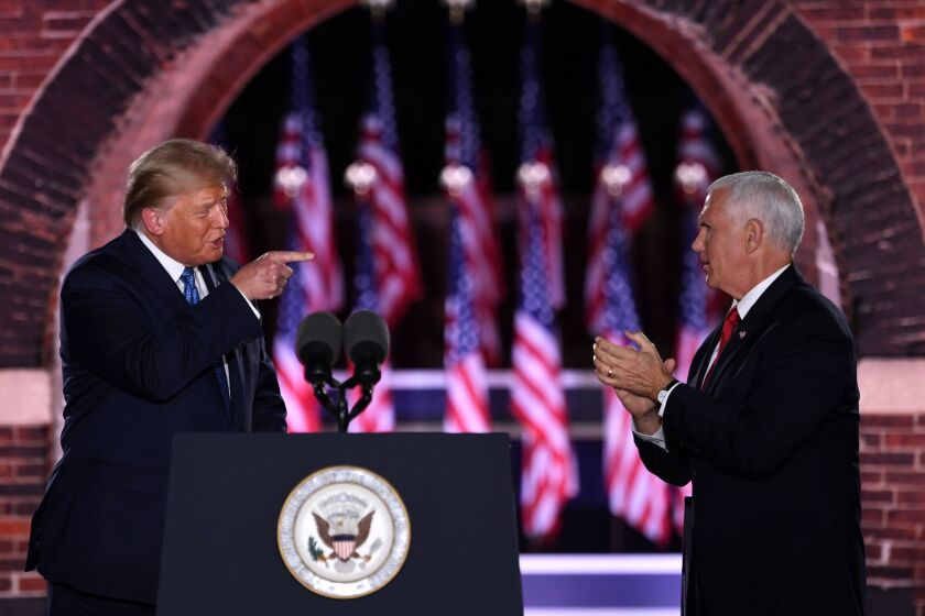 President Trump and Vice President Mike Pence at the third night of the Republican National Convention.