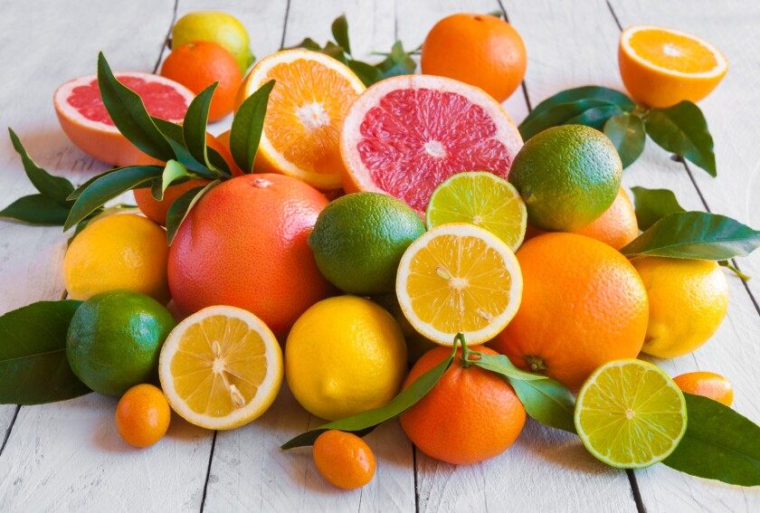 Various citrus fruits (orange, grapeftuit, lemon, mandarine, lim