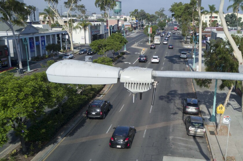"""San Diego has installed thousands of """"smart"""" streetlamps that include an array of sensors, including video and audio. On Friday August 2, 2019, these camera arrays, mounted on the """"cobra head"""" style street lamps were photographed in North Park at the corner of Illinois and El Cajon Blvd."""