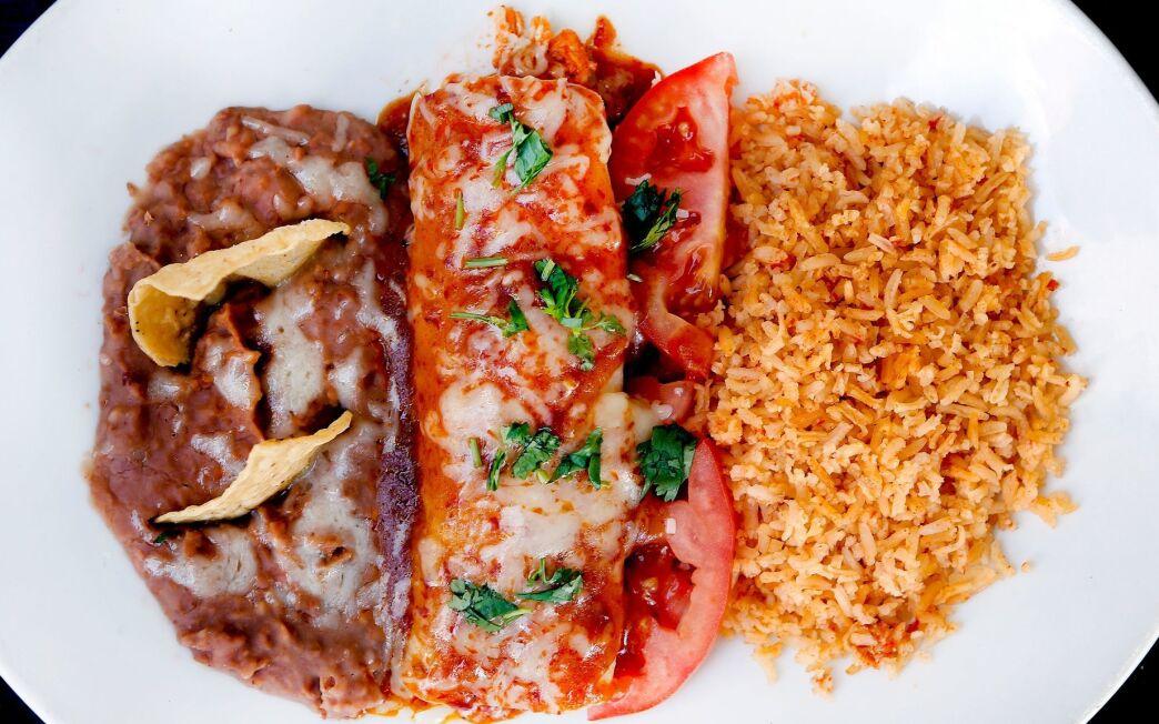Chicken enchiladas with homemade enchilada sauce