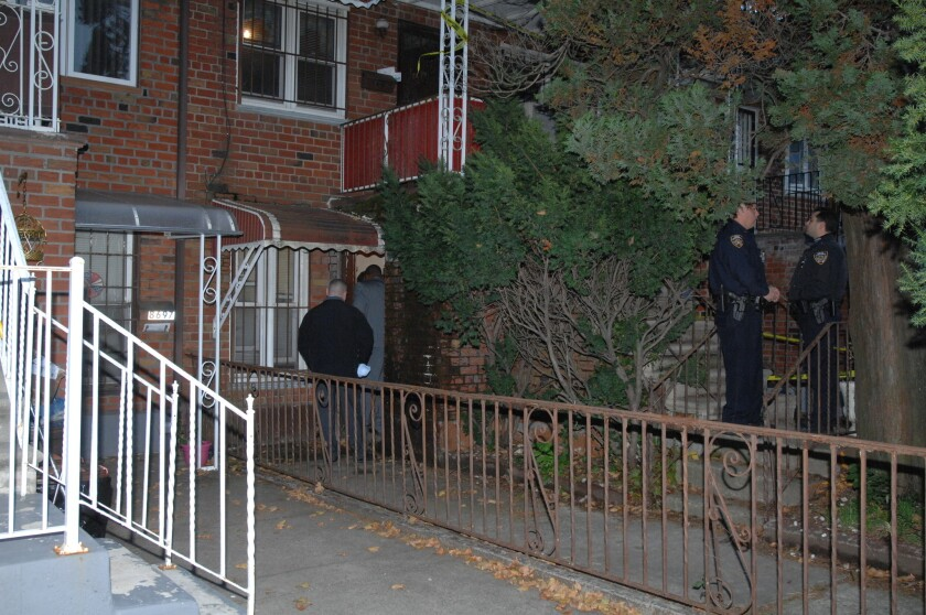 NYPD investigate the scene at 8699 26th Ave. where an elderly woman was discovered dead in her apartment on 26th Ave. near Bay 43rd St. in Bath Beach just before 1 p.m. Wednesday.