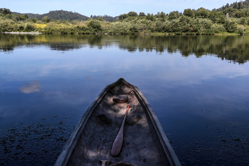 A Yurok redwood canoe sits empty on the Klamath River. The canoe, paddles and stools are all hand- crafted.