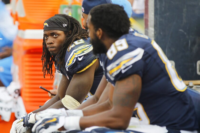 Chargers running back Melvin Gordon sat on the bench last Sunday after two more fumbles.