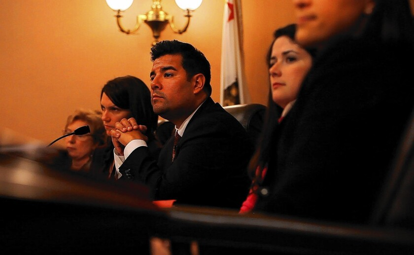 """Sen. Ricardo Lara (D-Bell Gardens), center, says: """"I think the time has come for us to revisit multilingualism, bilingualism and language immersion programs."""""""