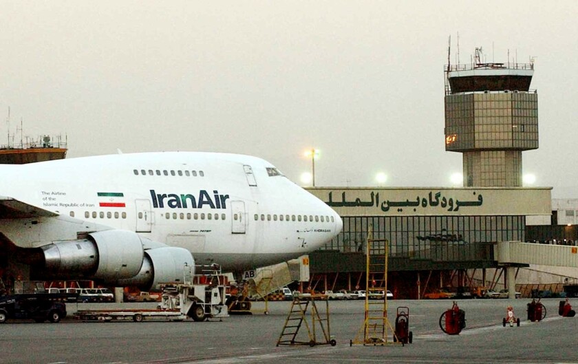 A Boeing 747 of Iran's national airline is seen at Mehrabad International Airport in Tehran.