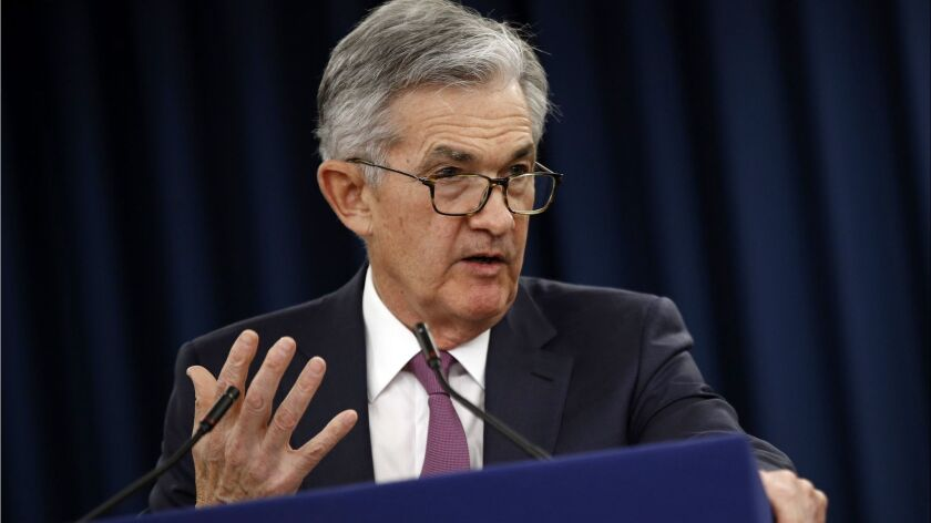 Federal Reserve Board Chairman Jerome Powell speaks at a May 1 news conference following a two-day meeting of the Federal Open Market Committee, in Washington.