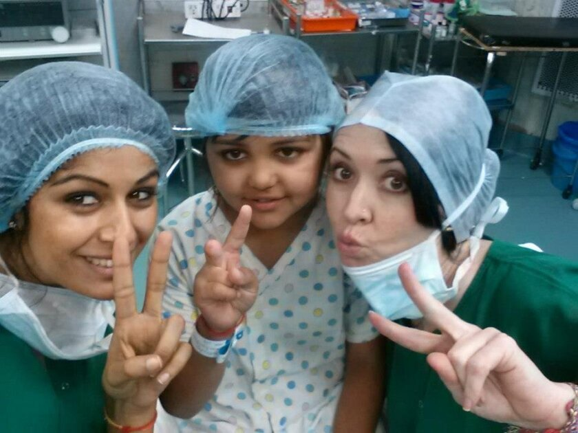 Nurse Gupri Dosanjh, left, with Amber Cheffins Gurung, right, and their patient from a previous mission.