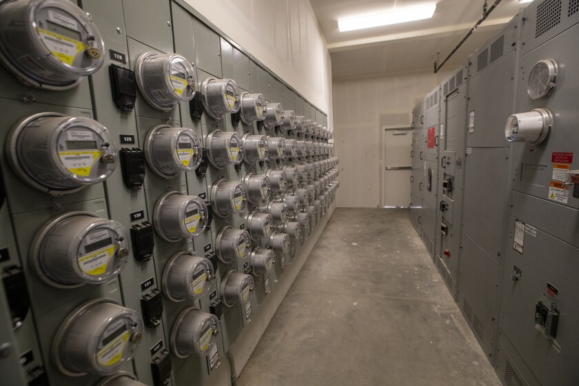 A wall of electric meters