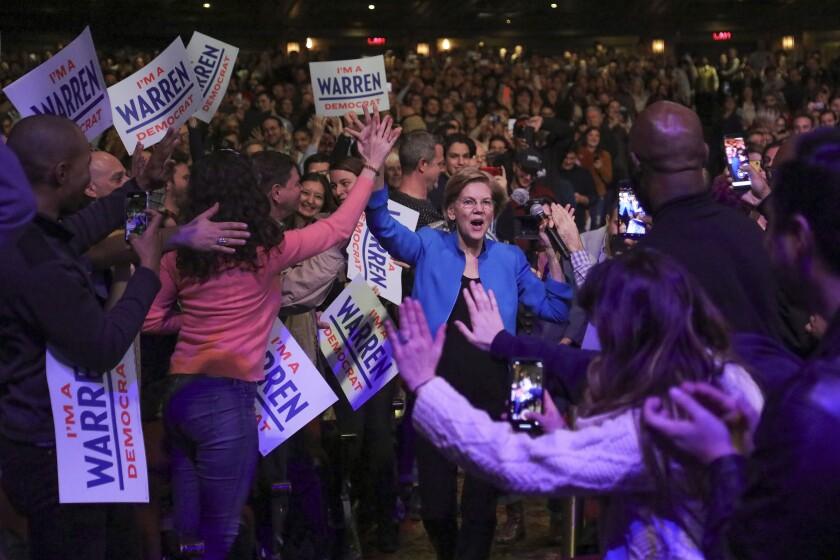 Democratic presidential candidate Sen. Elizabeth Warren, D-Mass., arrives at a campaign event, Tuesday Jan. 7, 2020, at Brooklyn's Kings Theatre in New York. (AP Photo/Bebeto Matthews)