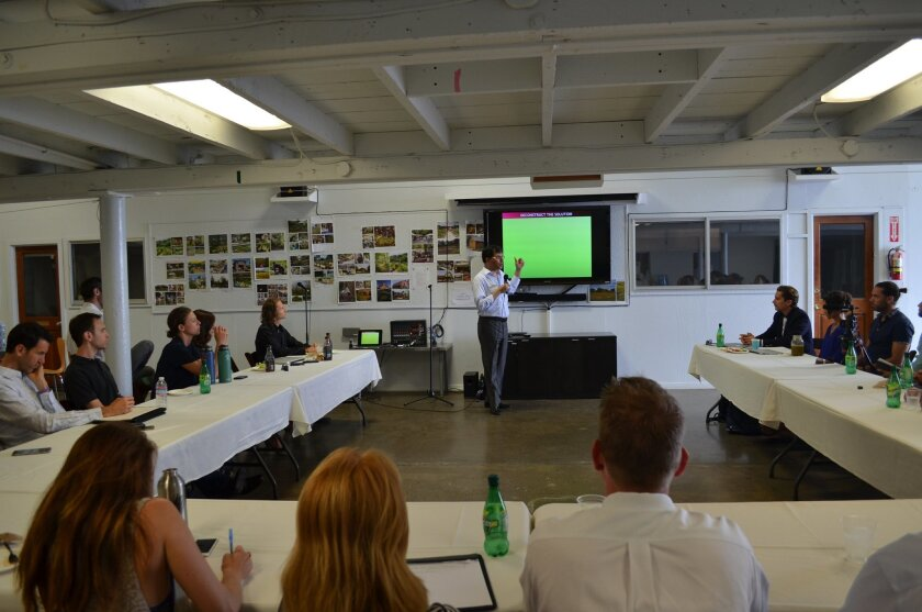 Heerad Sabeti speaks July 2 at the Leichtag Foundation property.