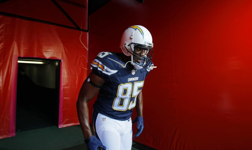Chargers Antonio Gates takes the field against the Dallas Cowboys.