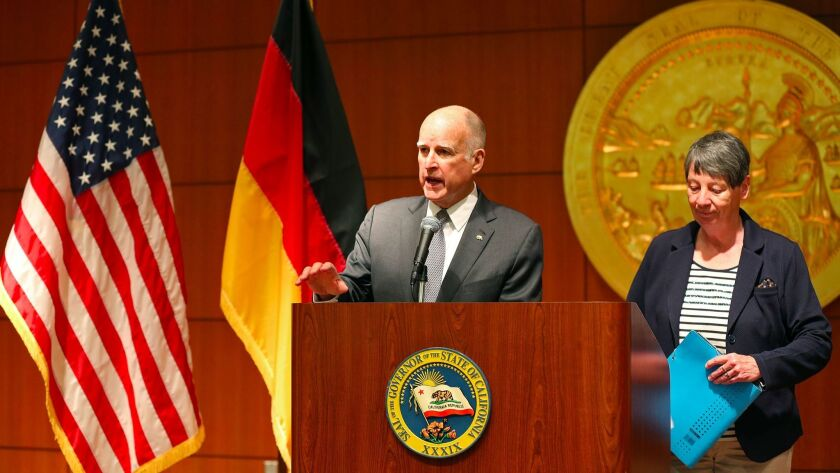California Gov. Jerry Brown, shown last month at a news conference, announced a plan to host a global environmental summit in San Francisco in 2018.