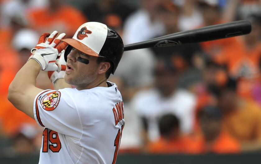Baltimore's Chris Davis hits a two-run home run during the Orioles' 7-4 victory Sunday over the Toronto Blue Jays.