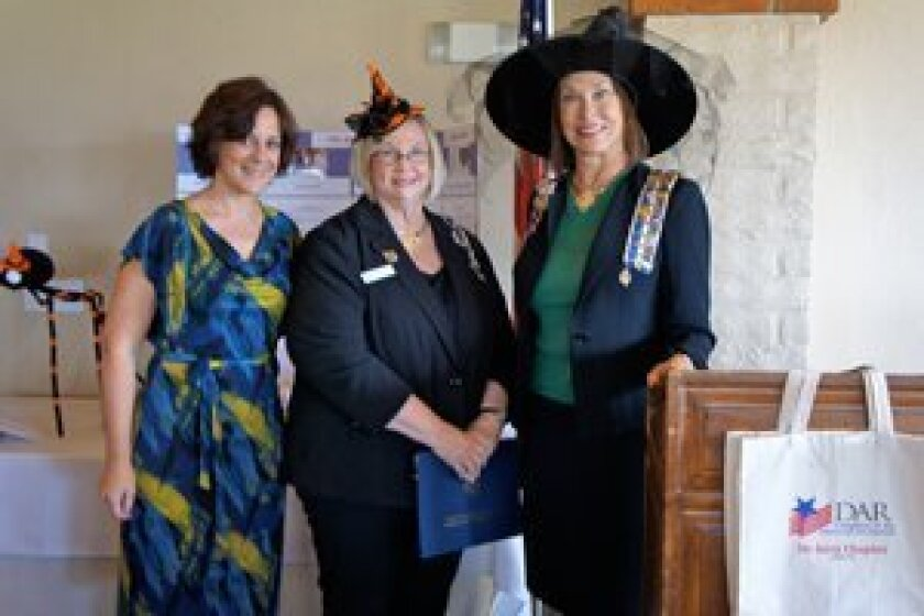 Cmdr. Faye Bell, Ret., Marti Meiners, Vice Regent, Laurel Lemarie, Regent