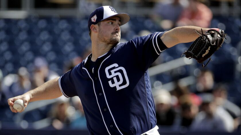 San Diego Padres starting pitcher Jacob Nix throws during the first inning of a spring training base