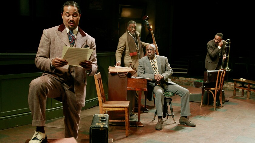 "Jason Dirden, left, stars in ""Ma Rainey's Black Bottom"" with Keith David, Glynn Thurman and Damon Gupton at the Mark Taper Forum."