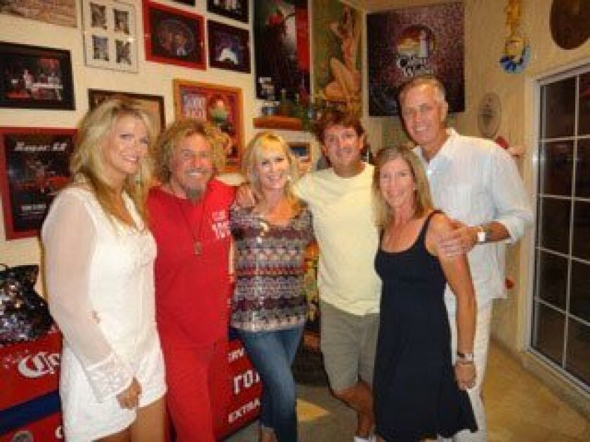 """Sammy Hagar and his wife Kari (far left) prepare to """"Raise Some Cabo"""" for The Bishop's School with the 2013 Auction Co-Chairs (from left to right) Janna and Marco Monroy and Tina and David Thomas."""