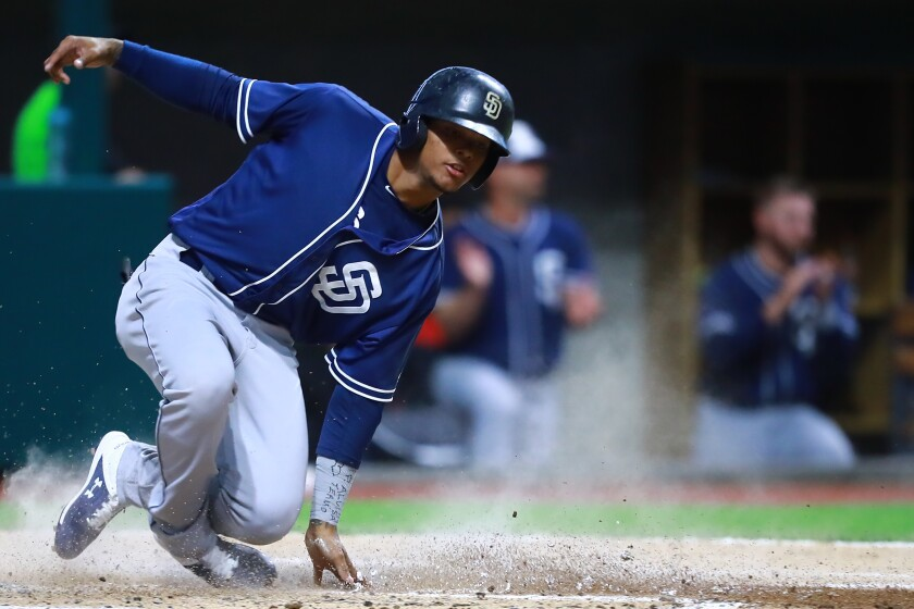 Jeisson Rosario of San Diego Padres scores in the fourth inning during a friendly game between Padres prospects and the Diablos Rojos at Alfredo Harp Helu Stadium on March 23, 2019 in Mexico City, Mexico.