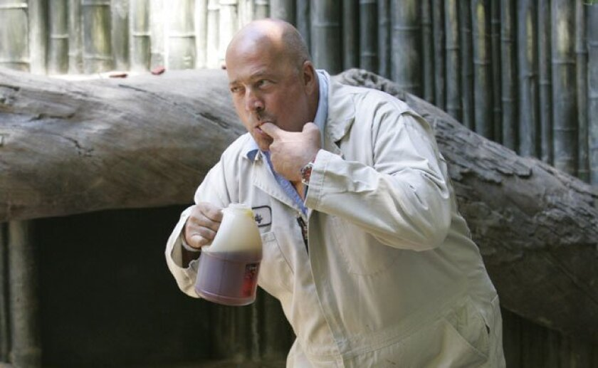 """Andrew Zimmern, during a San Diego Zoo visit in 2010. The host of """"Bizarre Foods""""is back in town filming an episode for his show."""