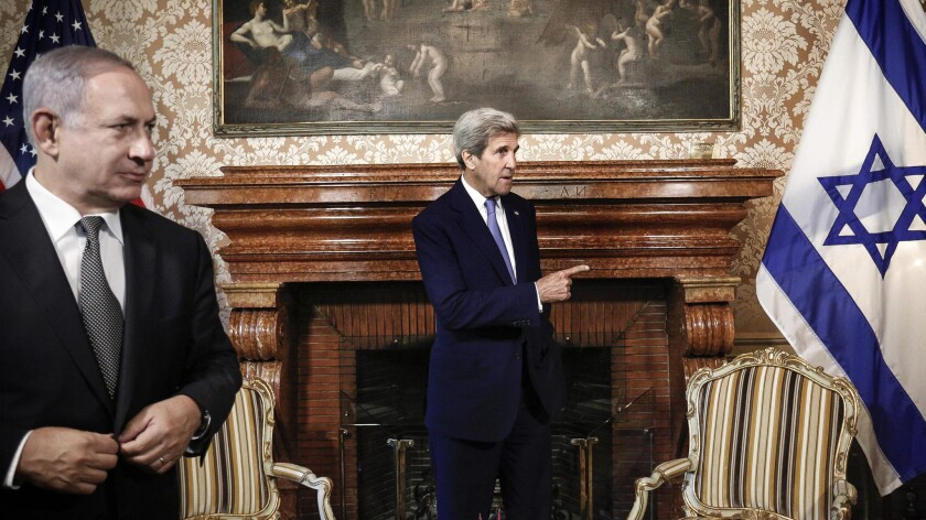 U.S. Secretary of State John Kerry with Israel Prime Minister Benjamin Netanyahu in Rome on June 27, 2016.