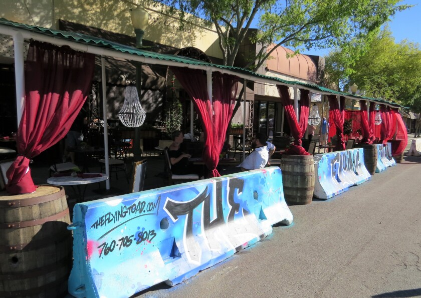 The new outdoor dining room for The Flying Toad in Escondido.