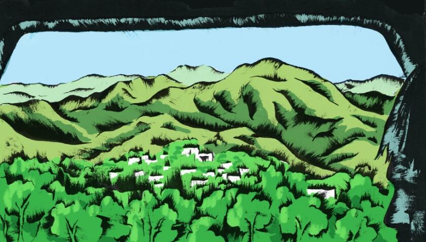 Illustration of verdant hills