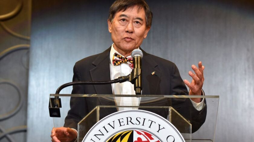 University of Maryland President Wallace Loh speaks at a news conference Tuesday in College Park, Md. in the aftermath of a football player's death.