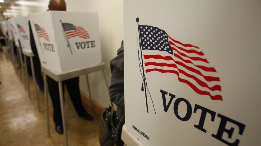 NORWALK, CA., NOVEMBER 5, 2012: Early voters line-up before dawn at the Los Angeles County Registrar