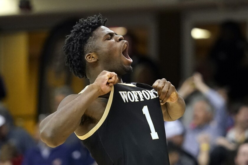 Wofford forward Chevez Goodwin celebrates during a win over Chattanooga in the Southern Conference tournament on March 8.