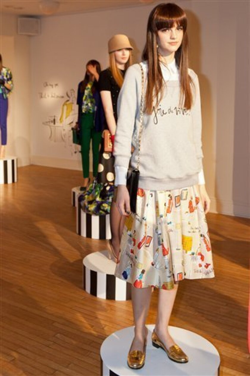 In this Friday, Feb. 10,  2012, handout photo provided by Kate Spade the Kate Spade Fall/Winter 2012 collection is modeled during Fashion Week in New York. (AP Photo/Kate Spade, Lucas Flores Piran)