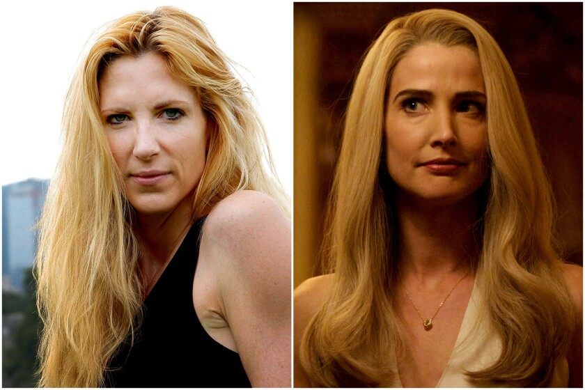 Political commentator Ann Coulter, left, and actress Cobie Smulders as Ann Coulter