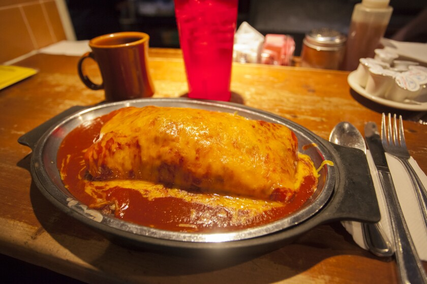A breakfast burrito at Tia Sophia's in Santa Fe, thought to be at least one of the places where the dish originated.