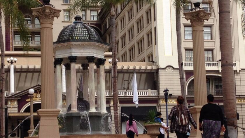 The Broadway Fountain at historic Horton Plaza park was designed by architect Irving Gill and installed in 1910. It was restored this year.