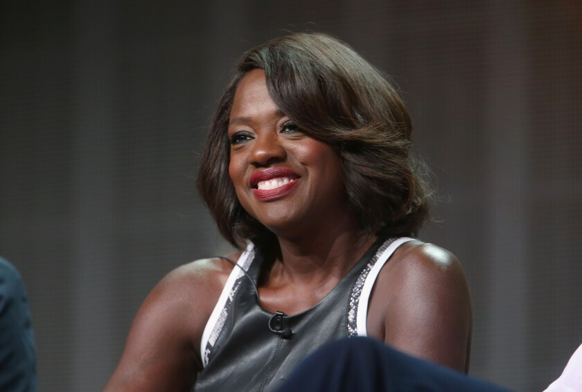 """Actress Viola Davis onstage at the """"How to Get Away With Murder"""" panel during the Disney/ABC Television Group portion of the 2014 Summer Television Critics Assn. gathering."""