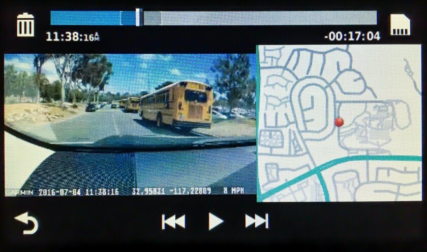 Dash cam view with playback controls & map showing location