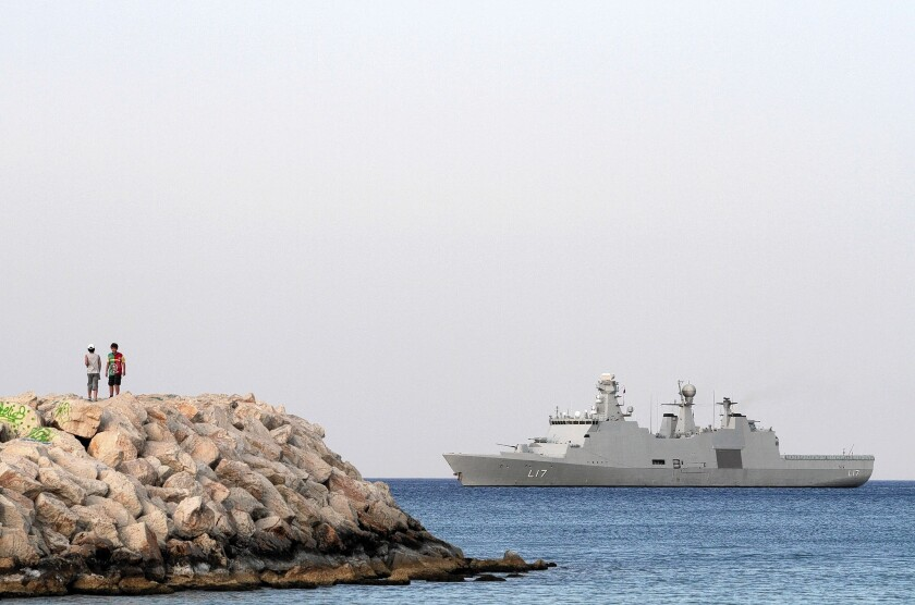 The Danish navy vessel Esbern Snare at sea off the coast of Cyprus in May. The last of Syria's chemicals agents has been removed from the country, a watchdog says.