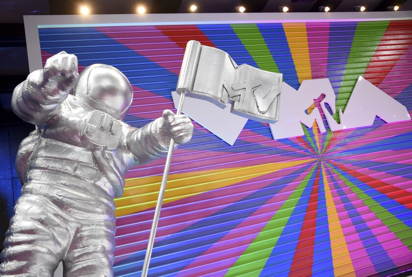 The MTV Moon Man appears on the red carpet at the MTV Video Music Awards at Radio City Music Hall on Aug. 20, 2018.
