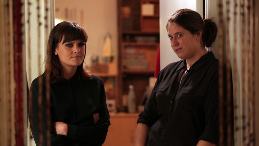 """Amy York Rubin, right, with Frankie Shaw, sizes up a party in an episode of the IFC Web series """"Boxed In."""""""