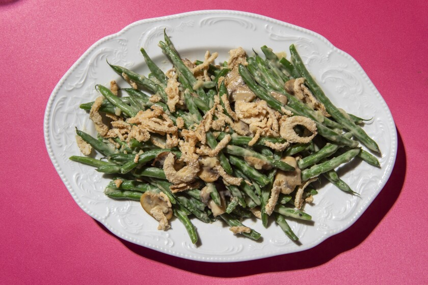 Smothered Green Beans with Creamed Mushrooms and Fried Onions