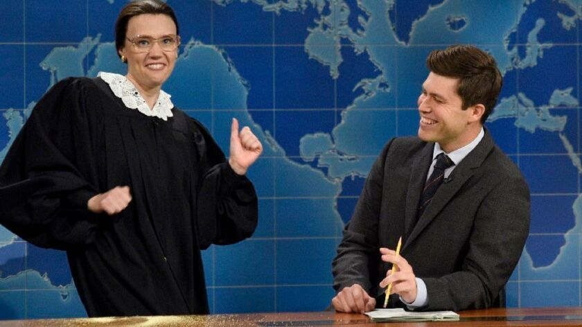 Kate McKinnon, as Supreme Court Justice Ruth Bader Ginsburg, and Colin Jost during Weekend Update on