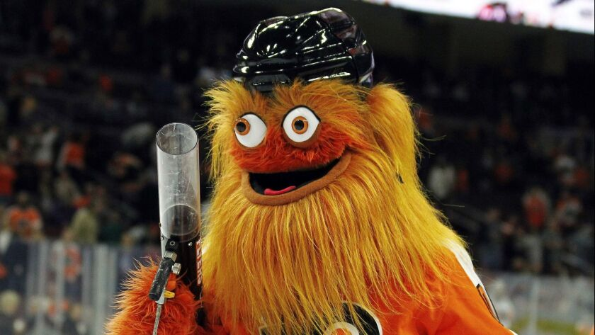 FILE - In this Sept. 24, 2018, file photo, the Philadelphia Flyers new mascot, Gritty, takes to the