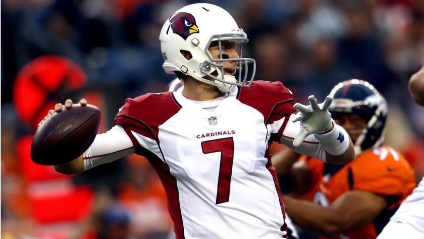 FILE - In this Aug. 31, 2017, file photo, Arizona Cardinals quarterback Blaine Gabbert throws agains