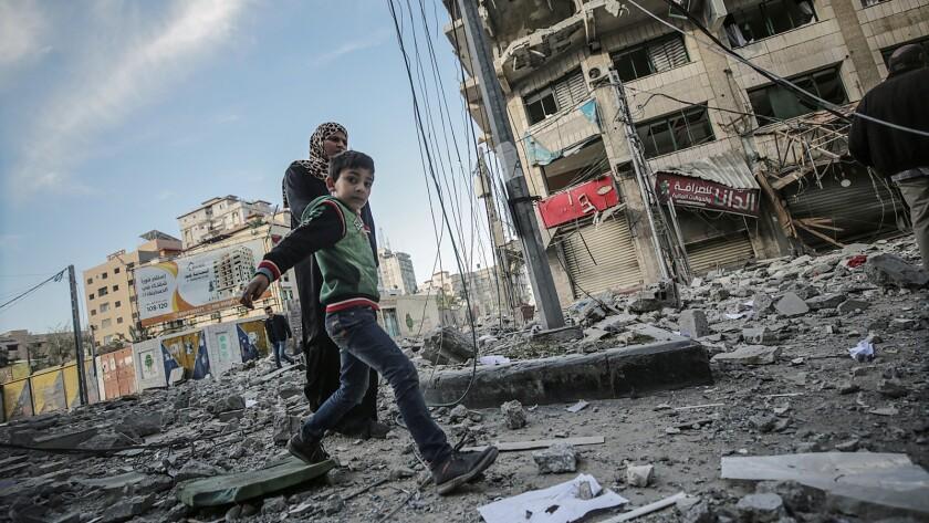 Israeli air strikes and tank fire hit Palestinian territory, Gaza, --- - 05 May 2019